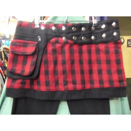 Falda cuadros  Paño LANA + Bolsillo